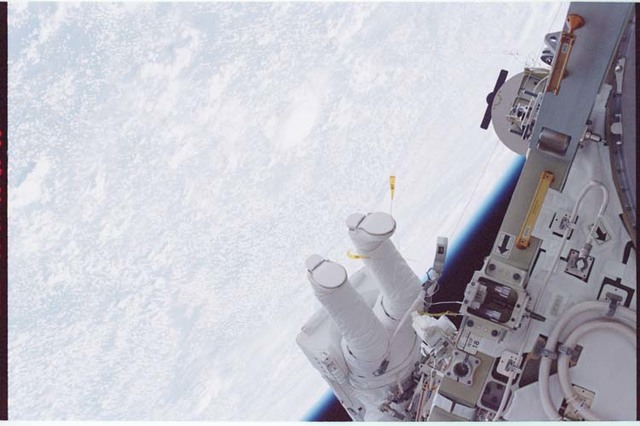 STS092-336-003 - STS-092 - McArthur's legs as seen during EVA next to Z1 truss