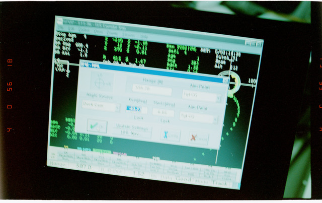 STS096-332-025 - STS-096 - View of PGSC screens during fly-around of ISS