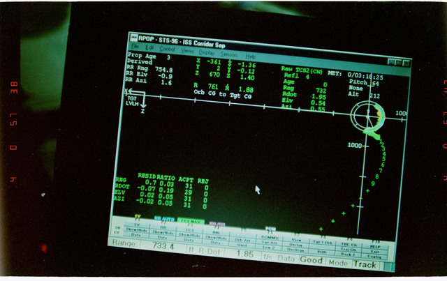 STS096-332-028 - STS-096 - View of PGSC screens during fly-around of ISS