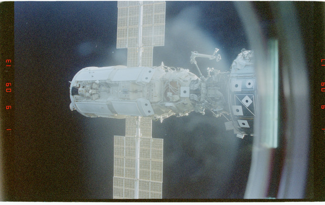 STS096-366-009 - STS-096 - View of the FGB/Zarya from Spacehab module while docked