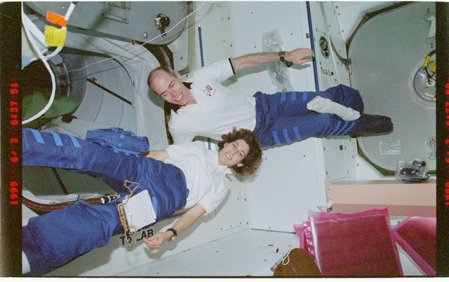 STS096-392-035 - STS-096 - Various views of the STS-96 crew tumbling in the Node 1/Unity module