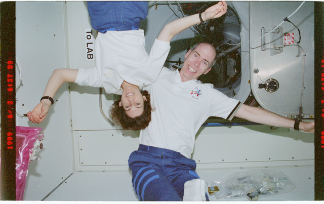 STS096-392-036 - STS-096 - Various views of the STS-96 crew tumbling in the Node 1/Unity module