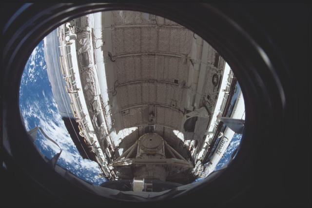 STS098-314-028 - STS-098 - View of Atlantis payload bay from U.S. Lab window