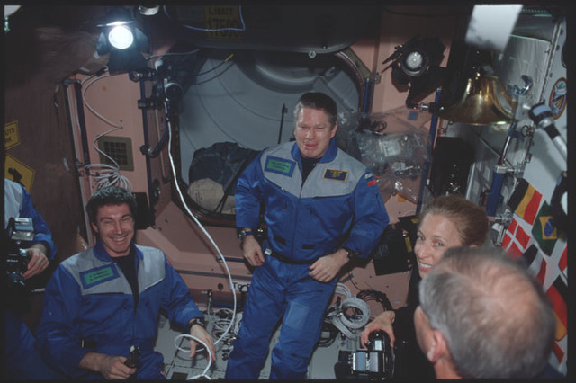STS098-326-035 - STS-098 - Expedition One and STS-98 crew in Node 1