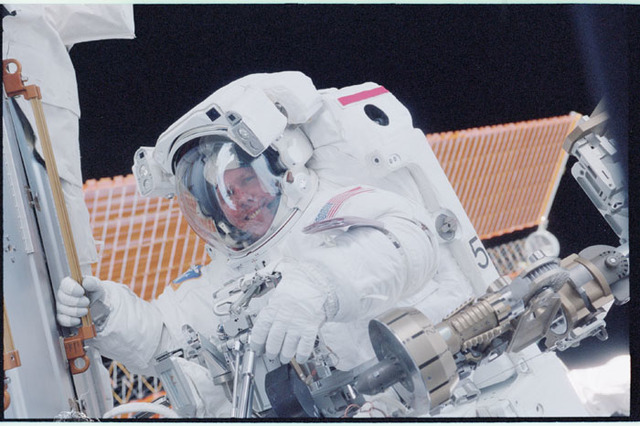 STS098-348-011 - STS-098 - Jones during EVA 2