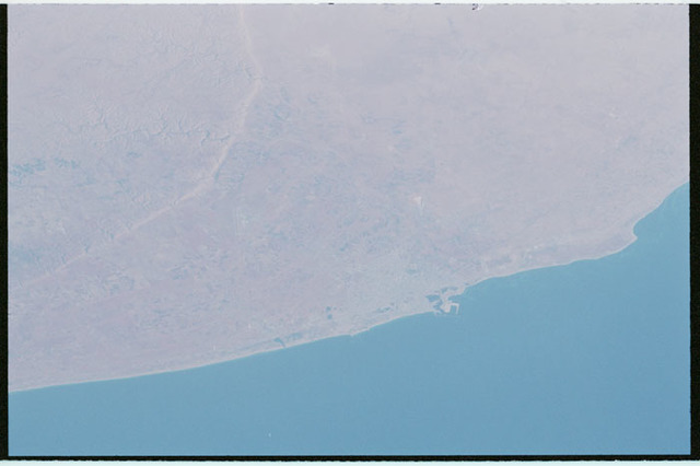 STS100-321-032 - STS-100 - Earth observation image of Port of Benghazi,Lybia taken during STS-100