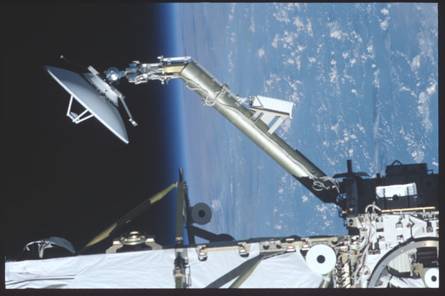 STS100-386-005 - STS-100 - The SGANT antenna and Z1 Truss taken during ISS undocking of the STS-100 mission