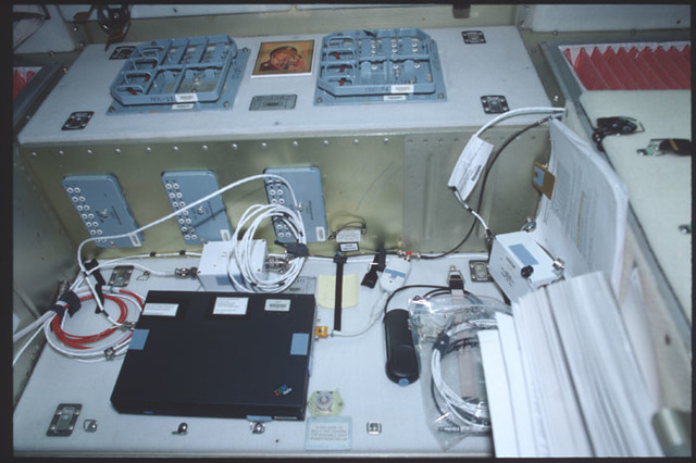 STS100-389-006 - STS-100 - View of Panels 338 and 339 in Zvezda taken during STS-100