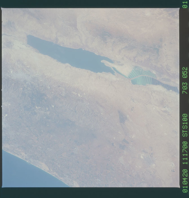 STS100-703-052 - STS-100 - Earth observation image of the Dead Sea and Israel taken during STS-100