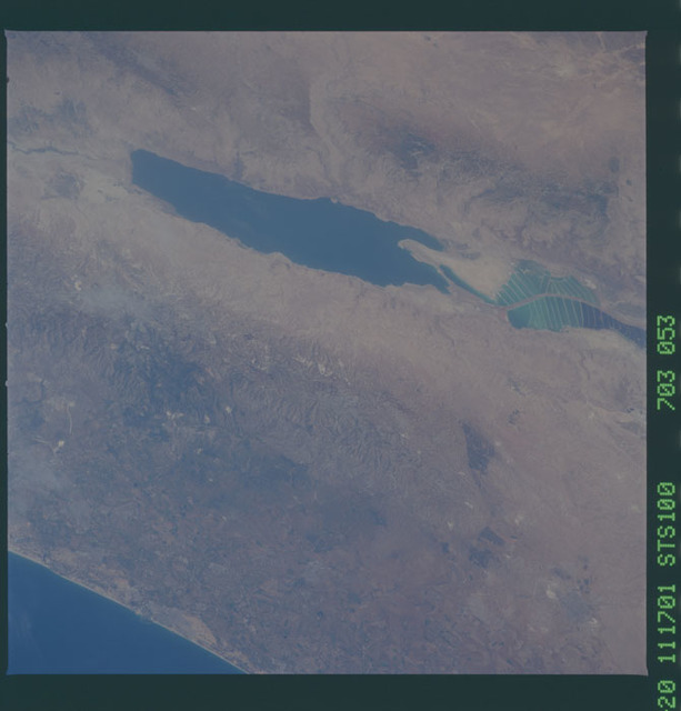 STS100-703-053 - STS-100 - Earth observation image of the Dead Sea and Israel taken during STS-100