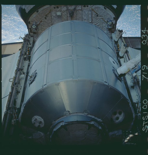 STS100-719-034 - STS-100 - View of the MPLM grappled by the RMS in Endeavour's payload bay taken during STS-100.