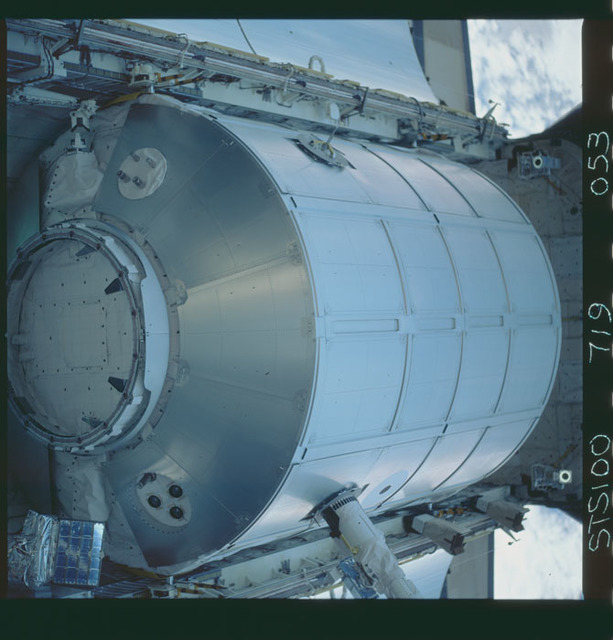 STS100-719-053 - STS-100 - View of the MPLM grappled by the RMS in Endeavour's payload bay taken during STS-100.