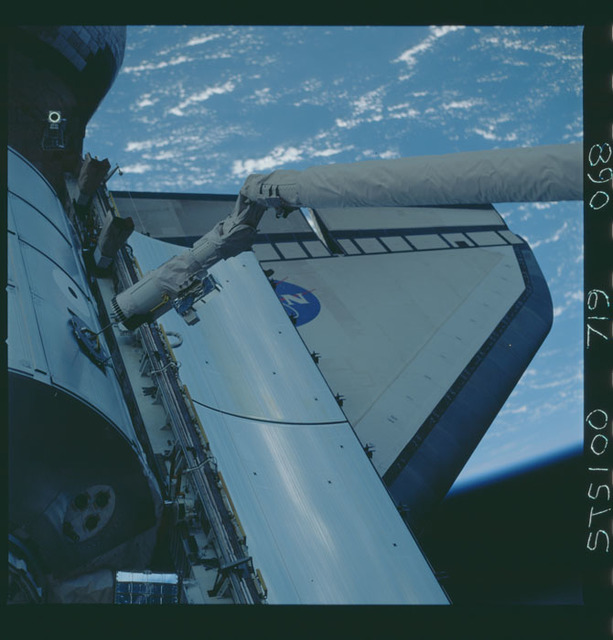STS100-719-068 - STS-100 - View of the MPLM grappled by the RMS in Endeavour's payload bay taken during STS-100.