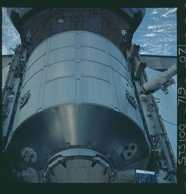 STS100-719-071 - STS-100 - View of the MPLM grappled by the RMS in Endeavour's payload bay taken during STS-100.