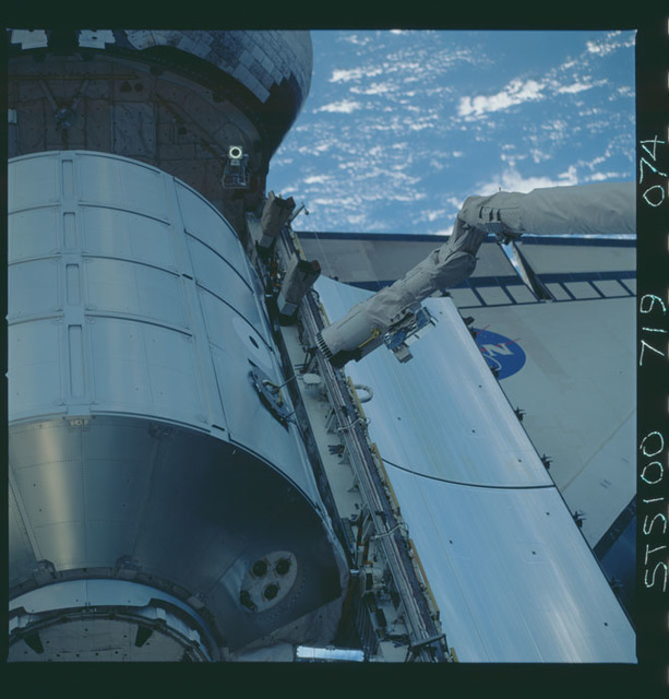 STS100-719-074 - STS-100 - View of the MPLM grappled by the RMS in Endeavour's payload bay taken during STS-100.
