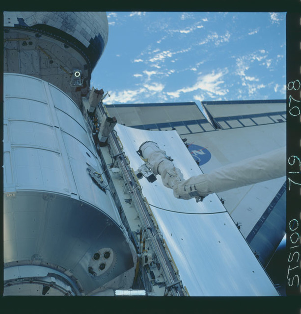 STS100-719-078 - STS-100 - View of the MPLM grappled by the RMS in Endeavour's payload bay taken during STS-100.