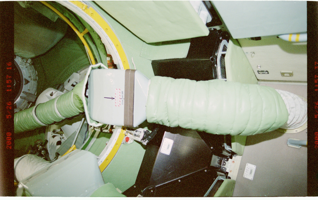 STS101-348-034 - STS-101 - Ventilation hoses leading from the Node 1/Unity to the FGB/Zarya module