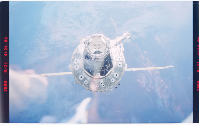 STS101-381-004 - STS-101 - Forward end of the ISS as seen during approach prior to docking