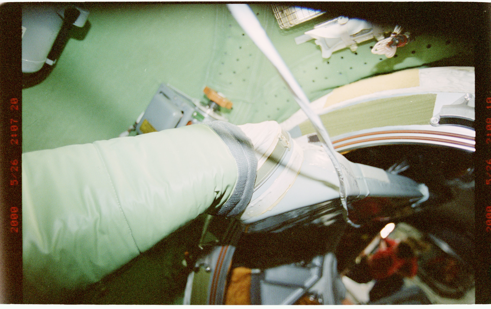 STS101-394-003 - STS-101 - View of ventilation hoses aboard the ISS