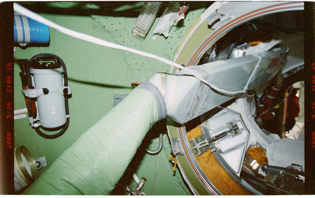 STS101-394-005 - STS-101 - View of ventilation hoses aboard the ISS