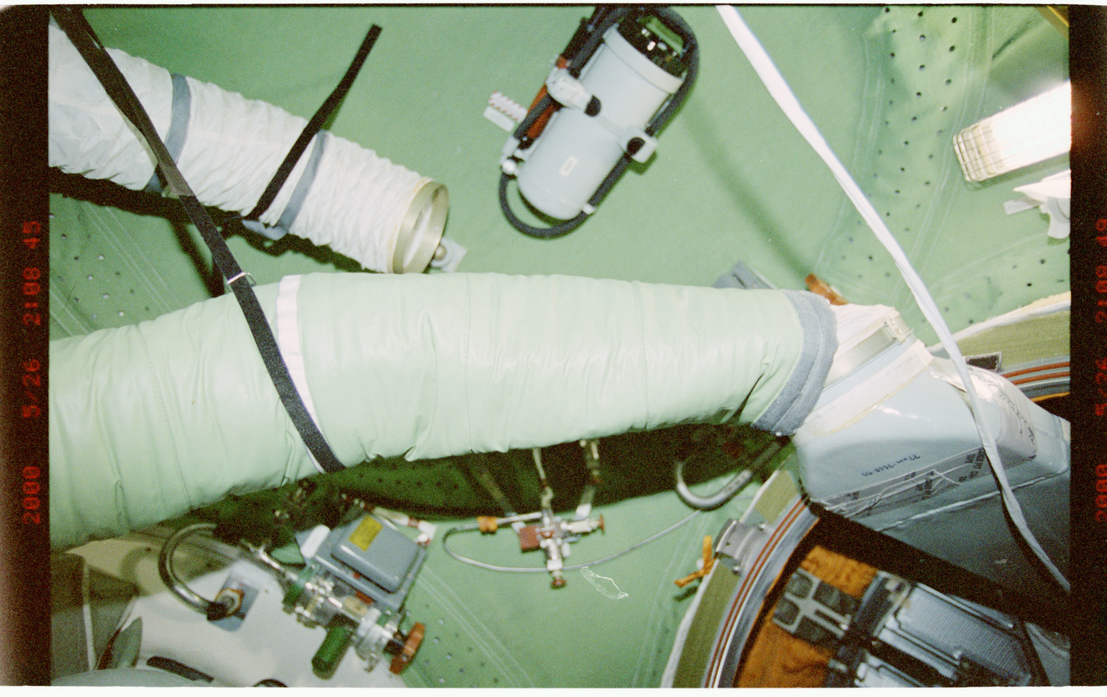 STS101-394-006 - STS-101 - View of ventilation hoses aboard the ISS