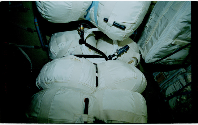 STS101-398-007 - STS-101 - Stowage bags packed in the FGB/Zarya module