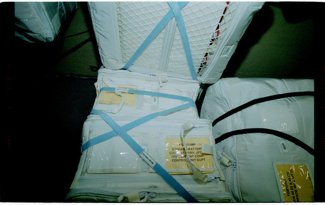 STS101-398-016 - STS-101 - Stowage bags packed in the FGB/Zarya module