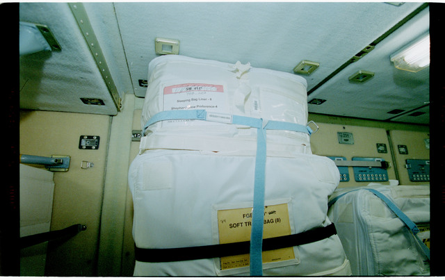 STS101-398-027 - STS-101 - Stowage bags packed in the FGB/Zarya module