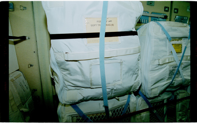 STS101-398-028 - STS-101 - Stowage bags packed in the FGB/Zarya module