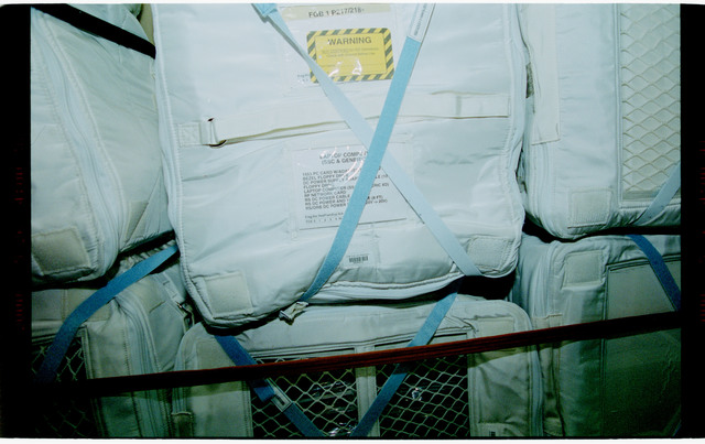 STS101-398-033 - STS-101 - Stowage bags packed in the FGB/Zarya module
