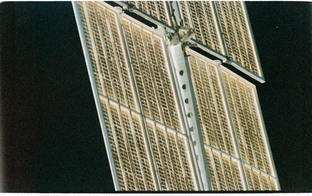 STS101-402-017 - STS-101 - View of FGB/Zarya solar arrays