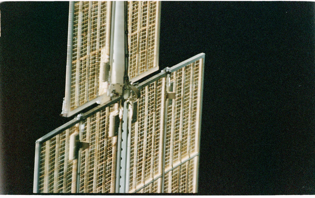 STS101-402-028 - STS-101 - View of FGB/Zarya solar arrays