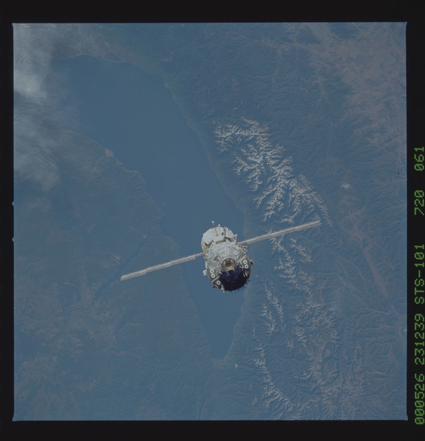STS101-720-061 - STS-101 - View taken of the zenith (-ZA) side of the ISS during flyaround