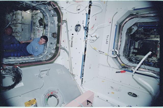 STS102-343-002 - STS-102 - Corner of Node 1 between U.S. Laboratory/Destiny and MPLM/Leonardo modules