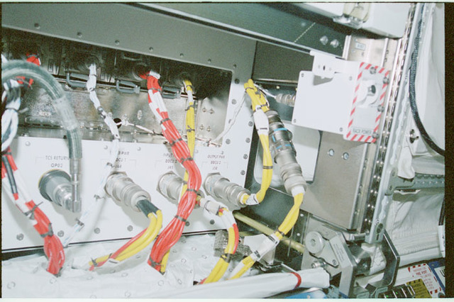 STS102-368-007 - STS-102 - Connector panels on U.S. Laboratory/Destiny racks