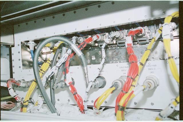 STS102-368-008 - STS-102 - Connector panels on U.S. Laboratory/Destiny racks