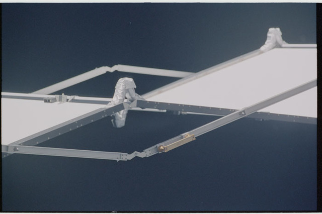 STS104-317-025 - STS-104 - P6 Truss, S-Band Antenna Subassembly (SASA), Mast Canister and PV Radiator