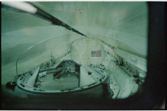 STS104-328-012 - STS-104 - View of ODS in payload bay with doors closing