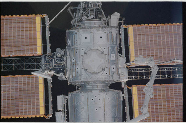 STS104-336-016 - STS-104 - Nadir view of Destiny lab and Node 1/Unity modules seen during approach for docking