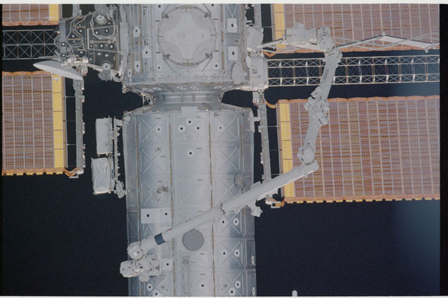 STS104-336-017 - STS-104 - Nadir view of Destiny lab and Node 1/Unity modules seen during approach for docking