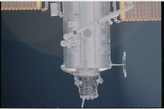 STS104-336-018 - STS-104 - Nadir view of Destiny lab and PMA 2 modules seen during approach for docking