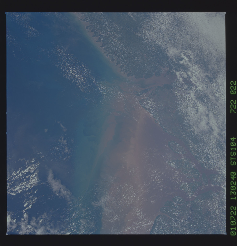 STS104-722-022 - STS-104 - View of Amazon River mouth, Brazil taken by the STS-104 crew