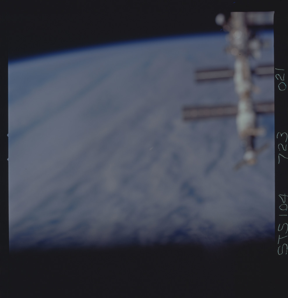 STS104-723-021 - STS-104 - Blurred overall view of ISS taken during fly-around by STS-104 crew