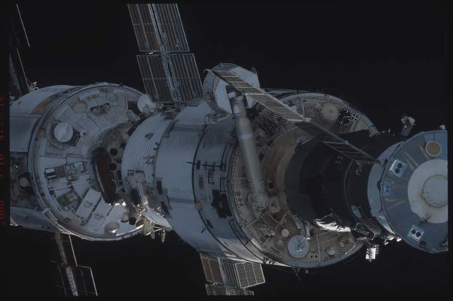STS106-332-018 - STS-106 - Zenith side of Progress, Zarya & Zvezda taken from Atlantis during STS-106.
