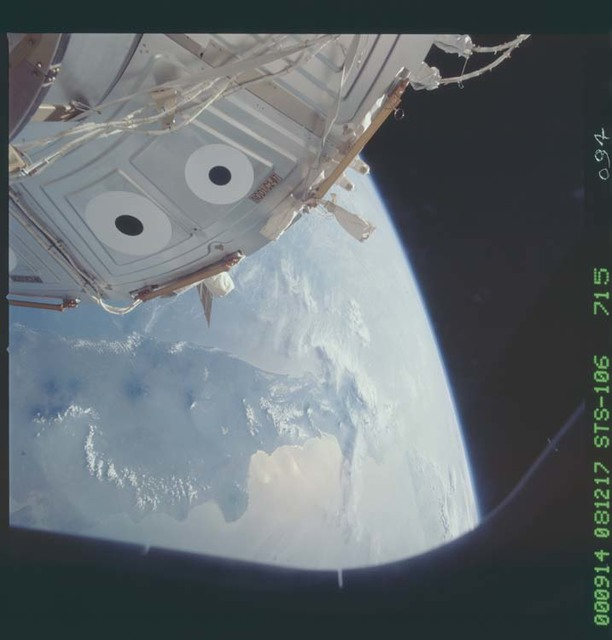 STS106-715-094 - STS-106 - The forward cone of Unity while ISS is docked with Atlantis during STS-106