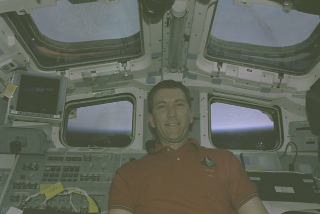STS107-401-005 - STS-107 - Husband smiles for the camera from Columbia's AFD during STS-107