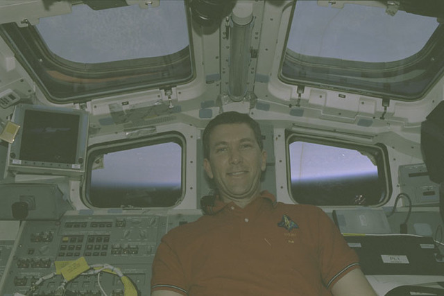 STS107-401-006 - STS-107 - Husband smiles for the camera from Columbia's AFD during STS-107