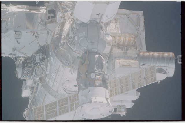 STS110-363-005 - STS-110 - View of the nadir side of the Soyuz, Node 1, Airlock and PMA3 taken during STS-110