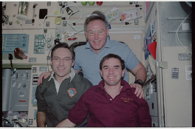 STS110-377-009 - STS-110 - Walz, Ross and Walheim pose in the Service Module during STS-110