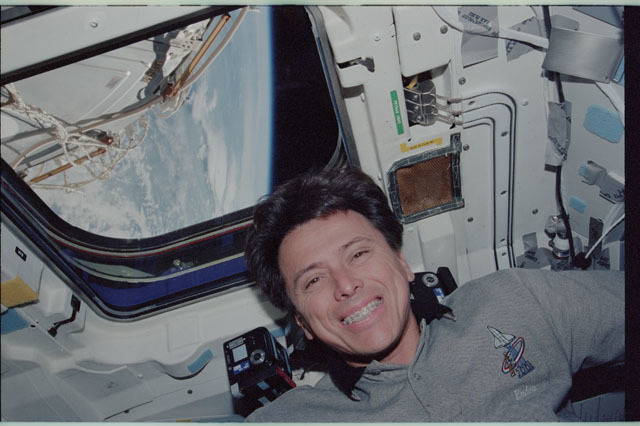 STS111-318-036 - STS-111 - Chang-Diaz beside a window on Endeavour's AFD during STS-111
